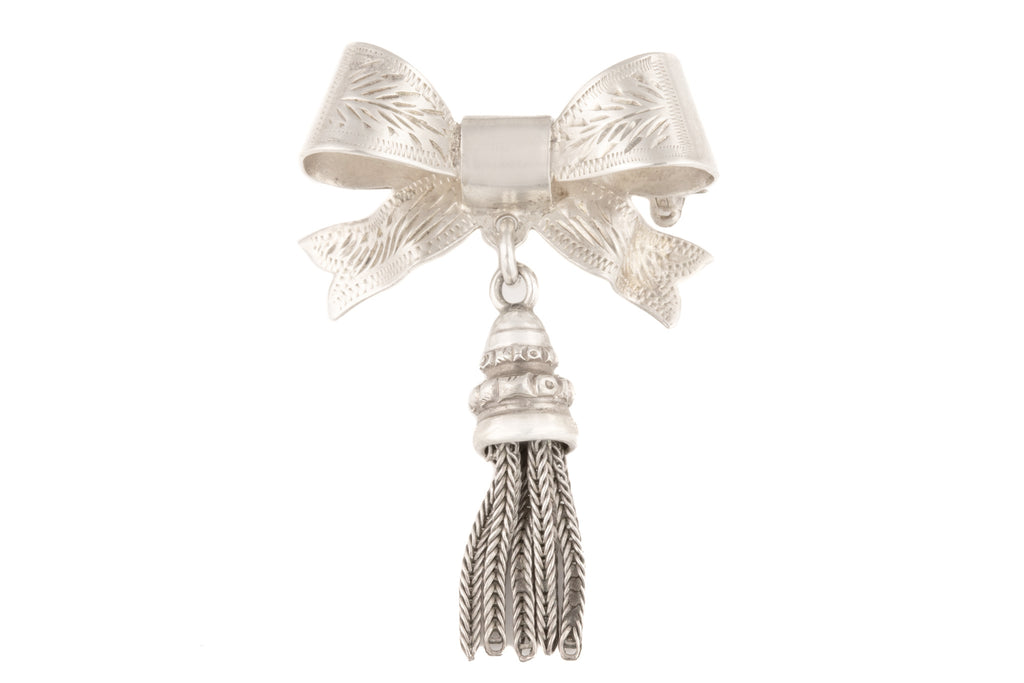 Scottish Edwardian Revival Silver Bow Tassel Brooch