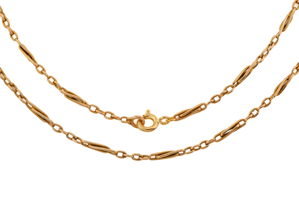 "Antique 15ct Gold Twisted Paperclip Chain, 16"" (6.6g)"