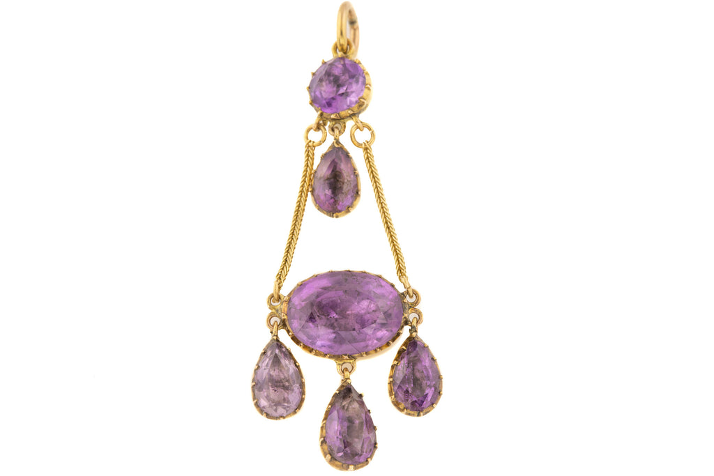 Georgian 18ct Gold Foiled Amethyst Pendant, (11.12ct)