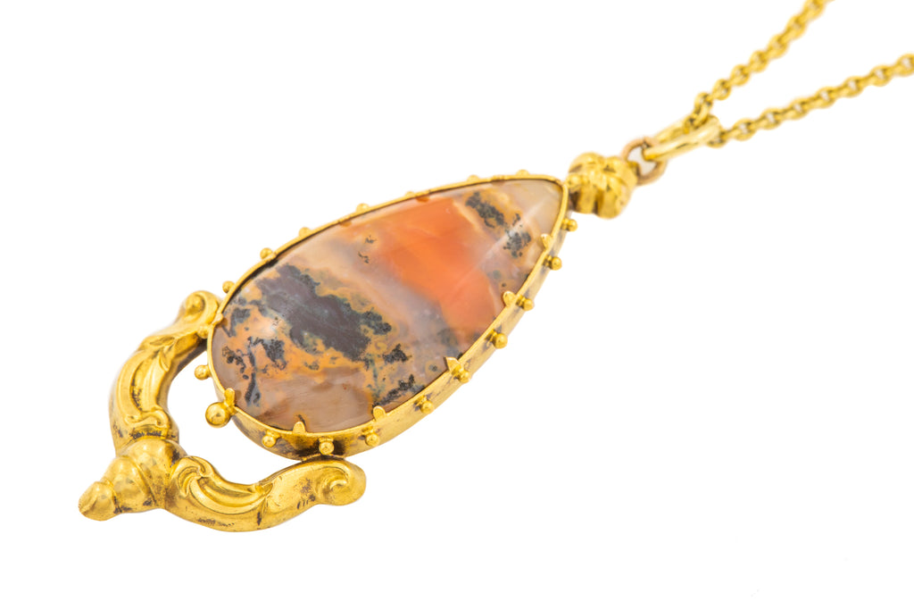 "Georgian 18ct Gold Moss Agate Pendant, with 16"" Chain"