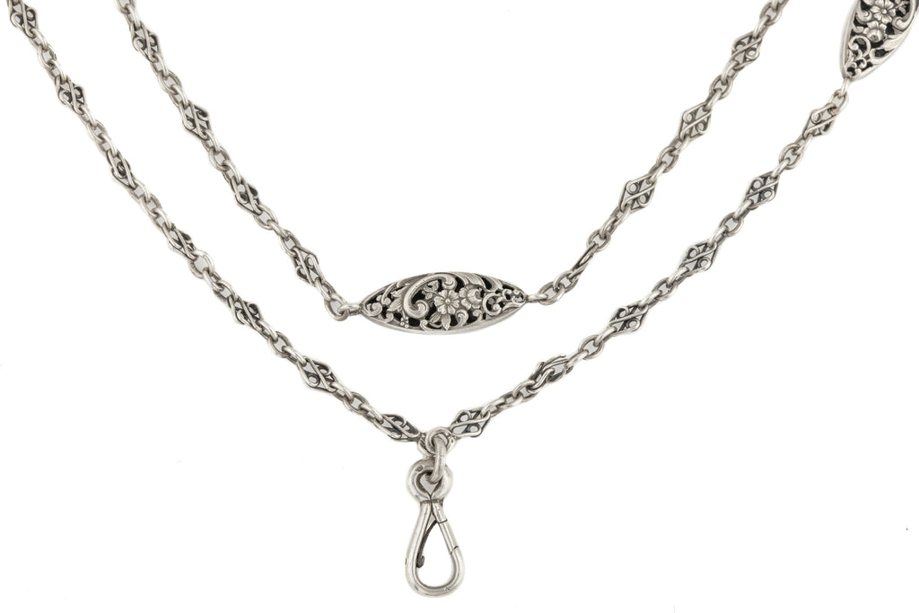French Art Nouveau Silver Long Guard Chain, 49 & 1/2""