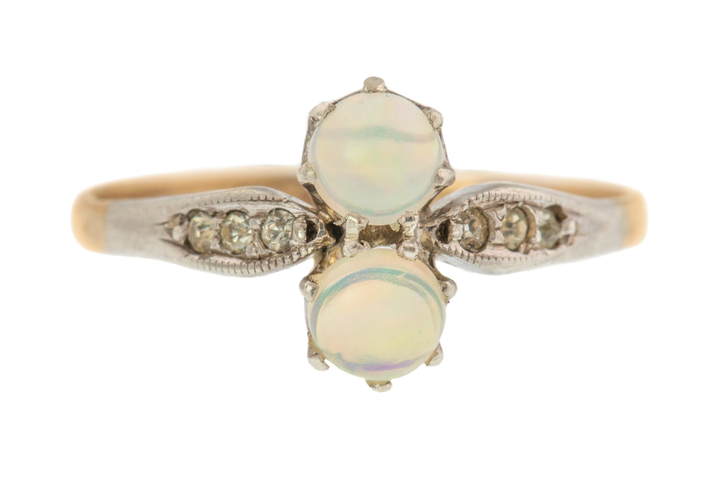 9ct Gold Opal Toi et Moi Ring (0.40ct)