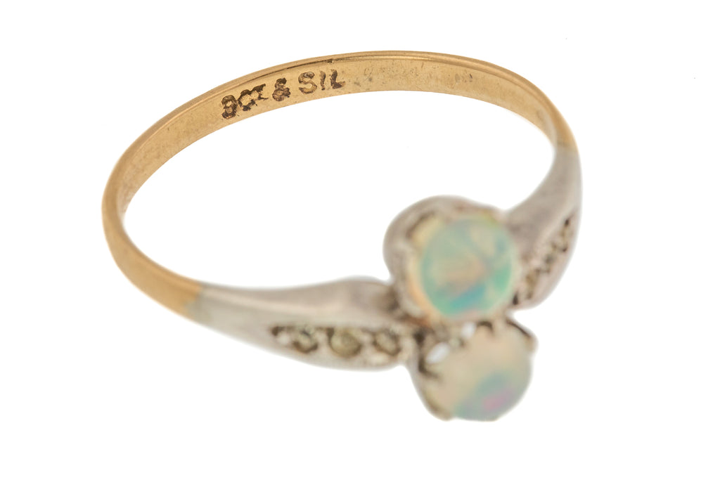 Victorian Gold Opal Paste Toi Et Moi Ring (0.40ct)