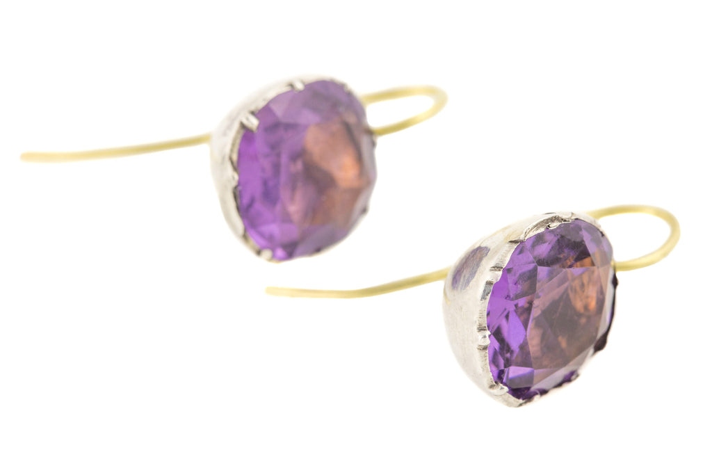 Georgian Amethyst Paste Earrings, with 18ct Gold Hooks
