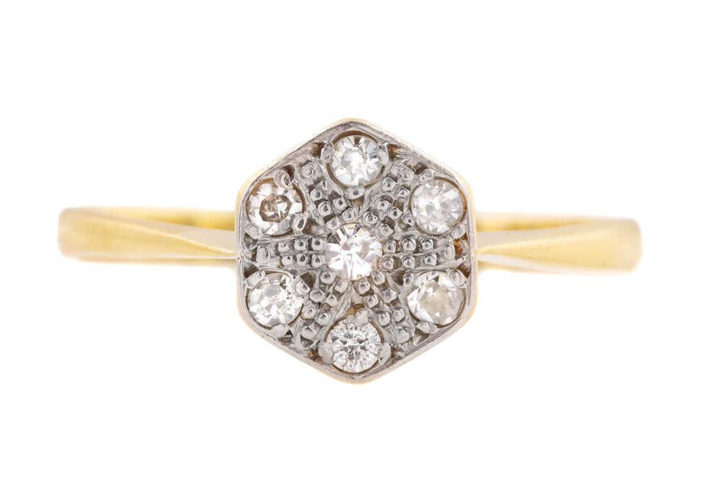 Art Deco 18ct Gold Diamond Cluster Ring