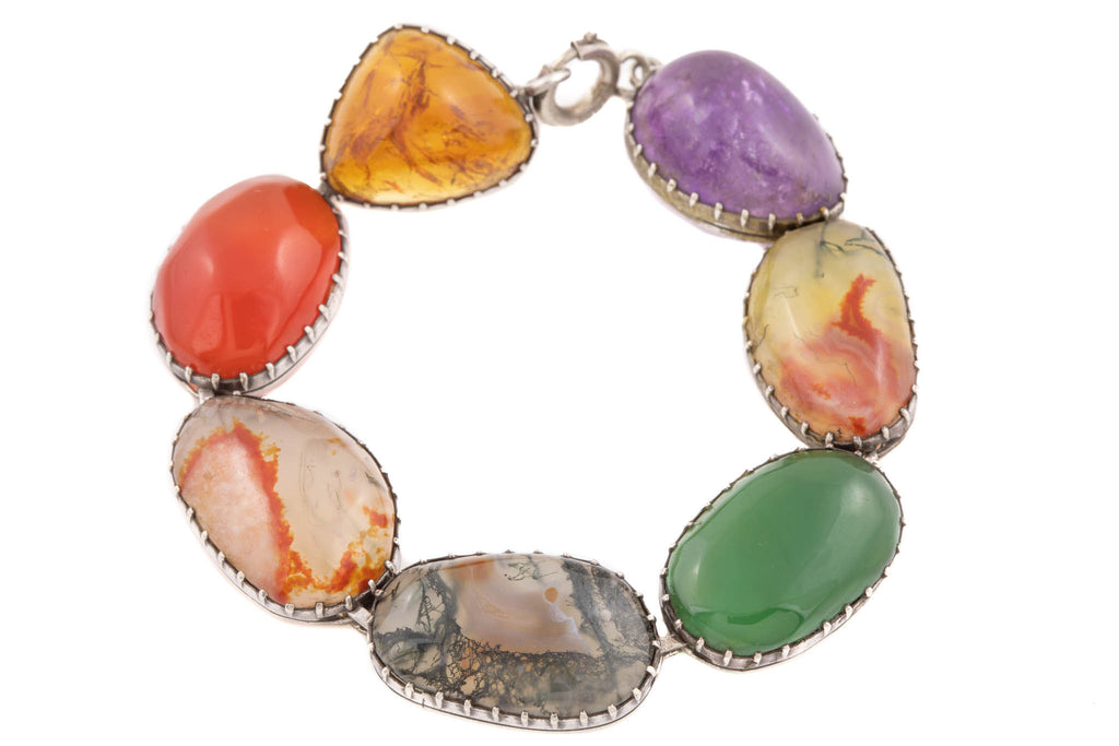 Antique Silver Multi-Gemstone Bracelet, 7&1/4""