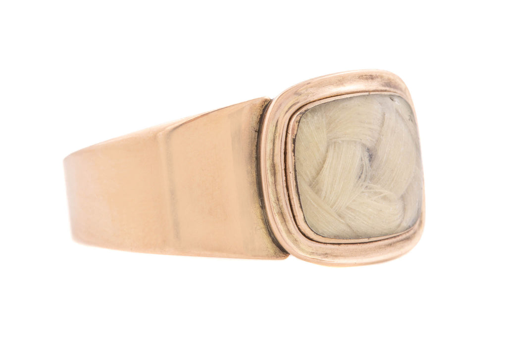 Rare Georgian Blonde Hair Gold Mourning Ring, Inscribed 1813