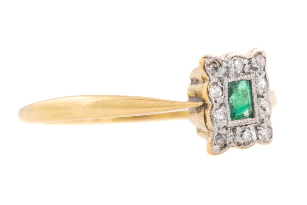 Art Deco Emerald Diamond Cluster Ring
