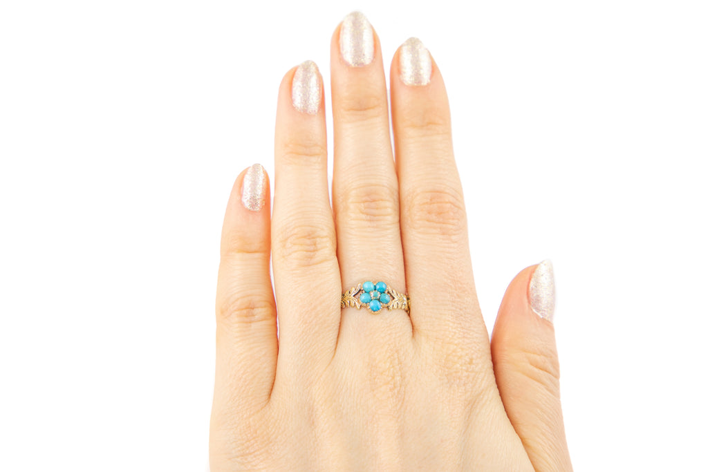 Georgian 12ct Gold Turquoise Forget-Me-Not Ring