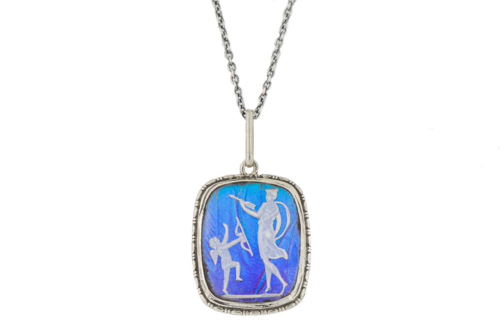 "Art Deco Butterfly Wing Cameo Pendant, with Adjustable 16"" or 18"" Chain"