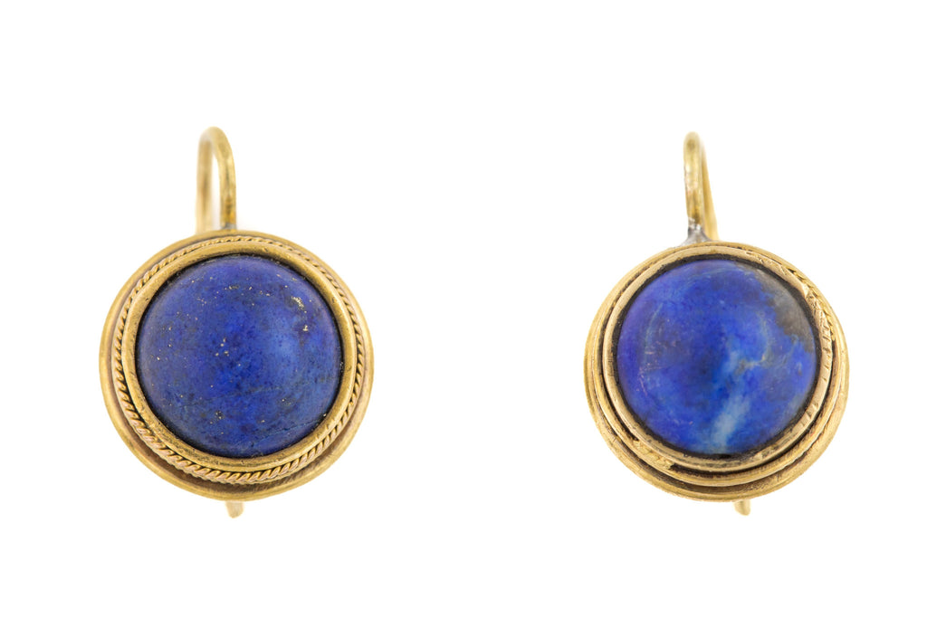 Antique 18ct Gold Lapis Lazuli Earrings