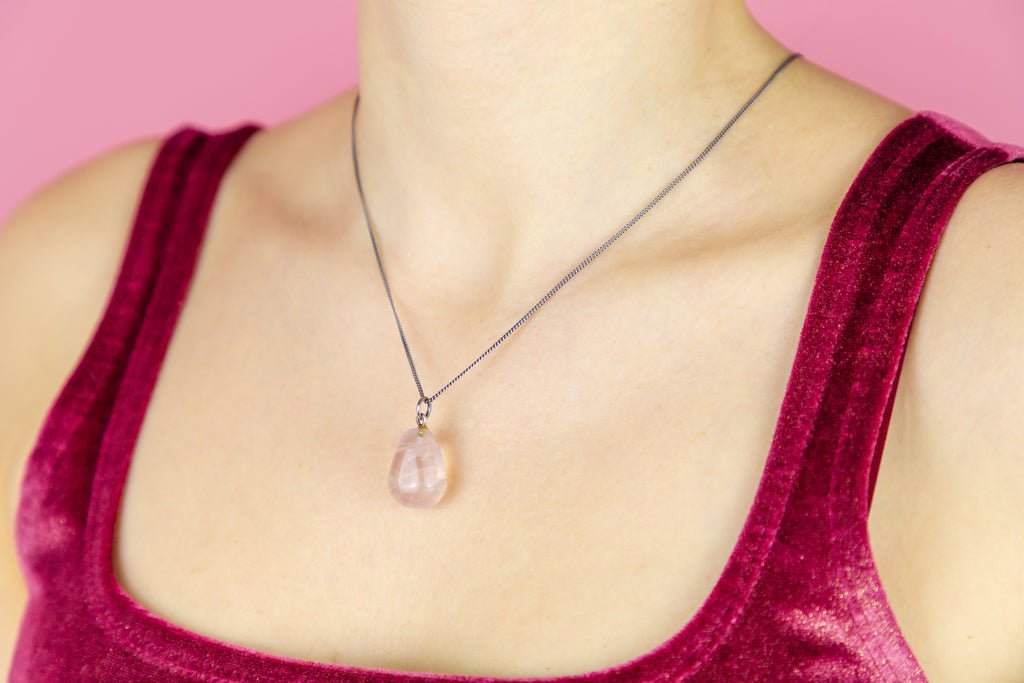"Arts and Crafts Rose Quartz Charm, with 18"" Chain"