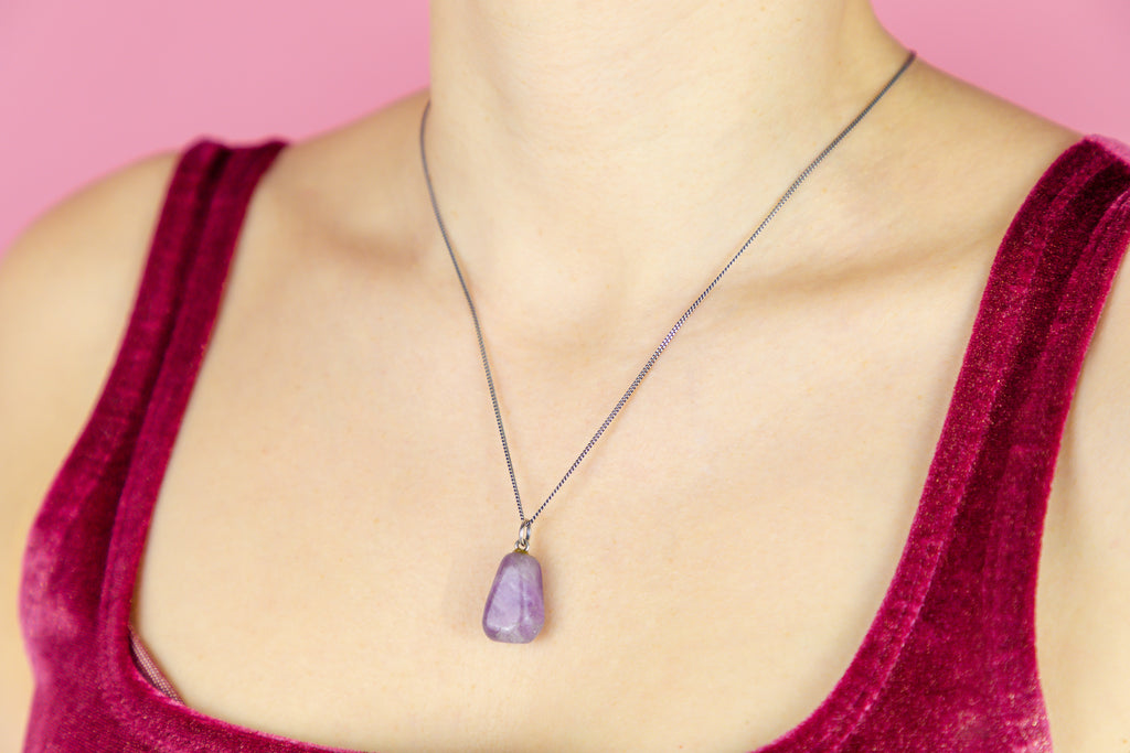"Arts and Crafts Amethyst Pendant, with 18"" Chain"