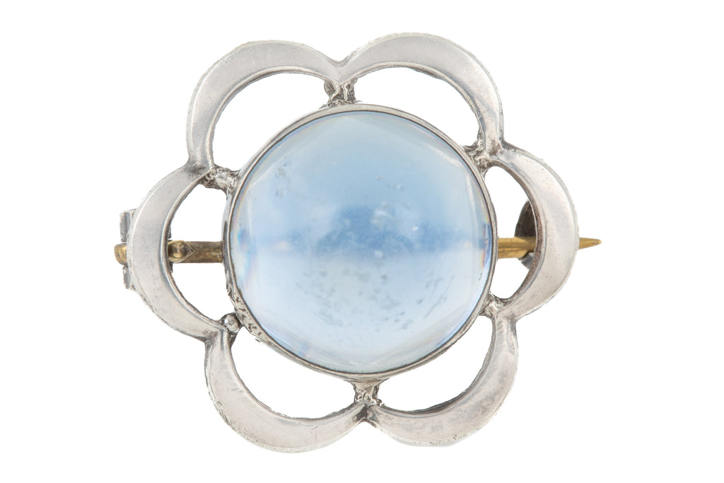 Silver Moonstone Glass Flower Brooch