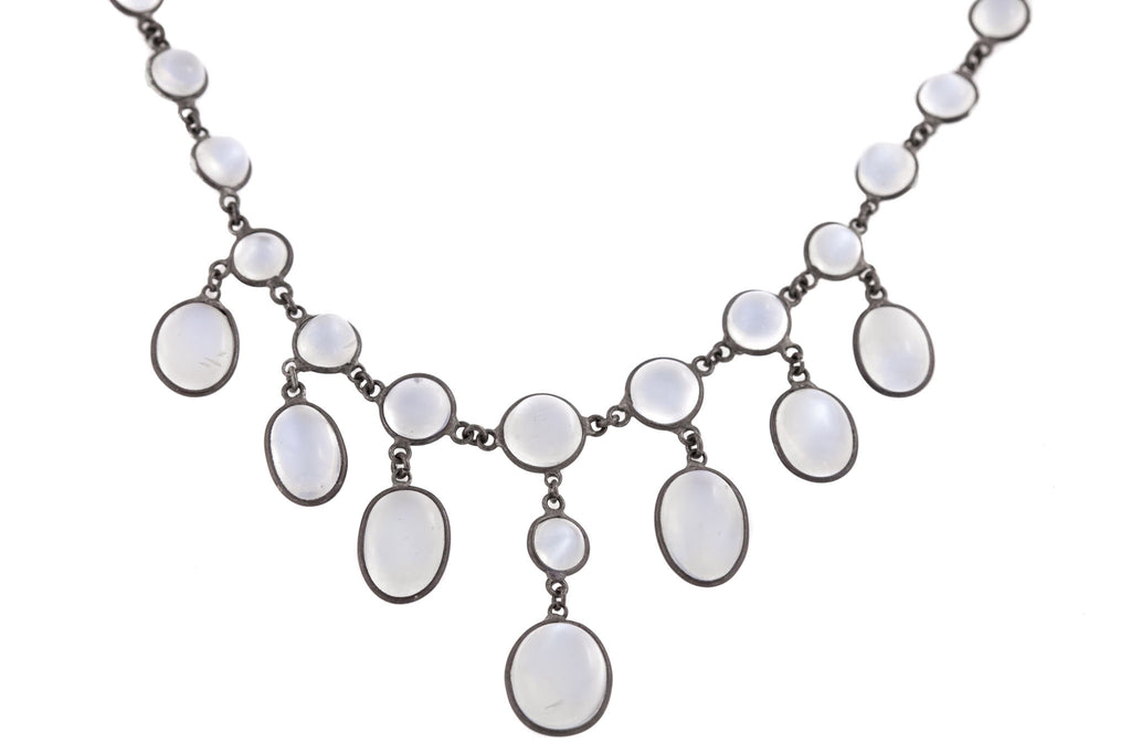 "Edwardian Silver Moonstone Fringe Necklace, 16 & 7/8"" (19.61ct)"