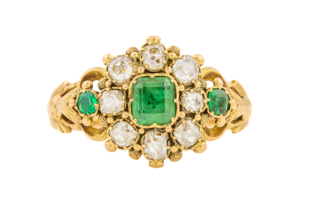 Georgian 15ct Gold Emerald Diamond Ring