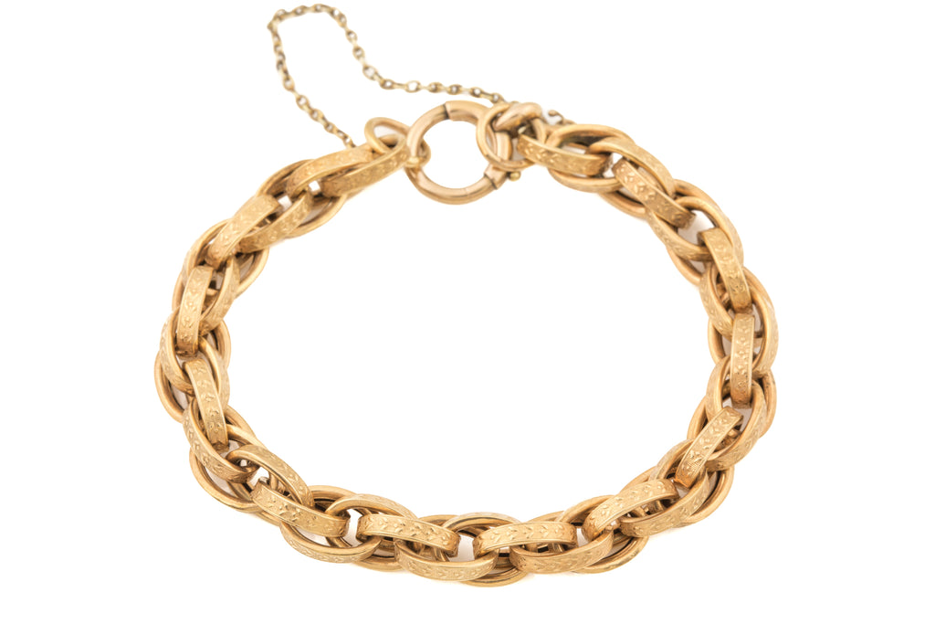 "Victorian Gold Chased Chunky Bracelet, 8"" (18.6g)"