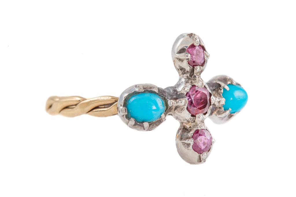 Georgian Turquoise Ruby Cruciform Ring (0.30ct), with Solid Gold Shank