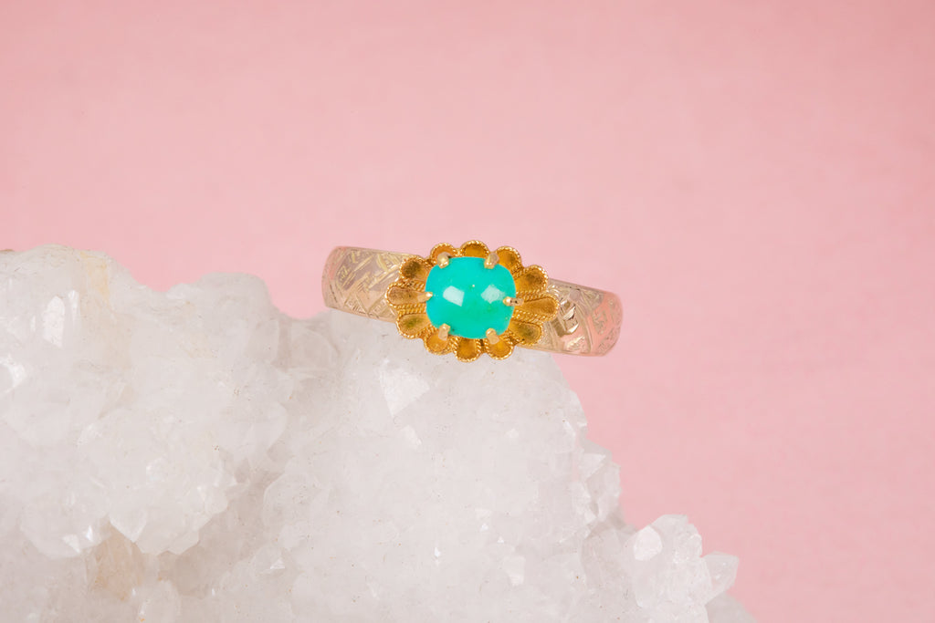 Antique Gold Etruscan Revival Turquoise Ring