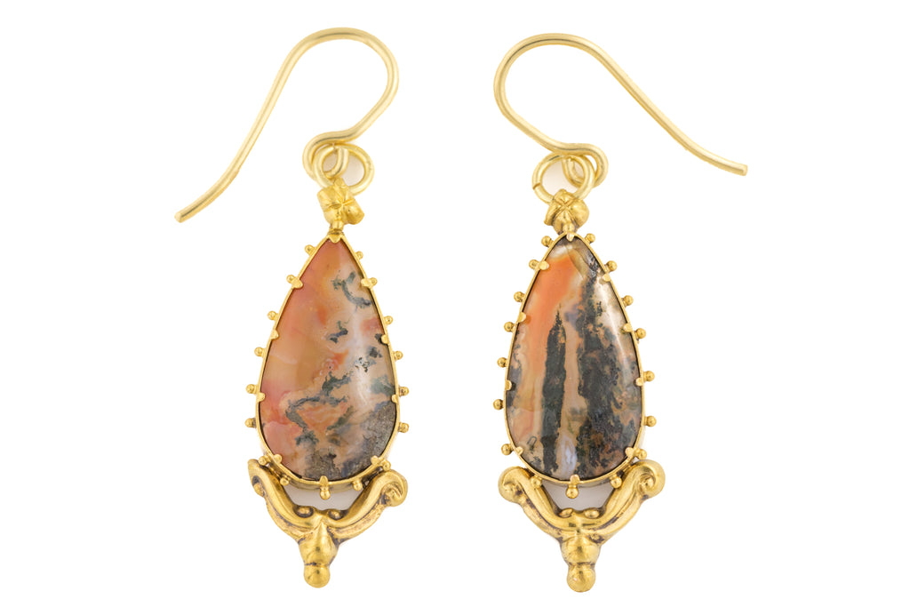 Rare Georgian 18ct Gold Moss Agate Earrings
