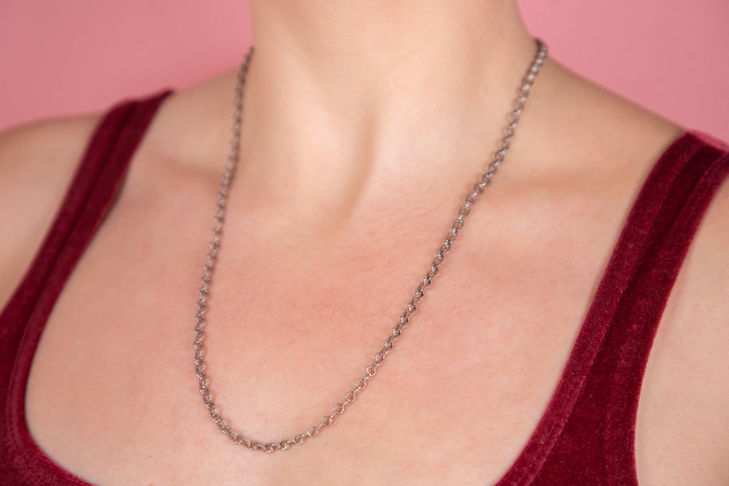 "Antique French Silver Fancy Chain, 22 & 1/2"" (13.2g)"