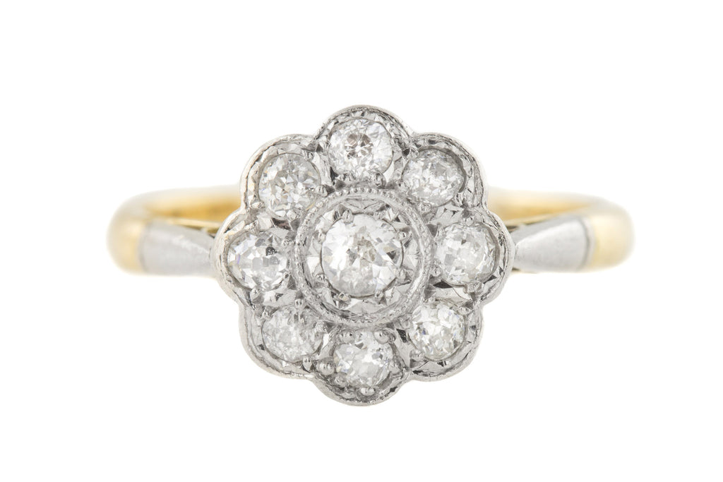 Edwardian 18ct Gold Platinum Diamond Cluster Ring, (0.23ct)