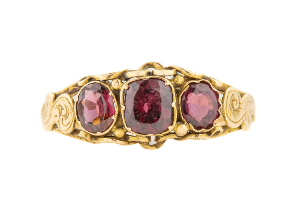 Victorian 15ct Gold Garnet Trilogy Ring (0.82ct)