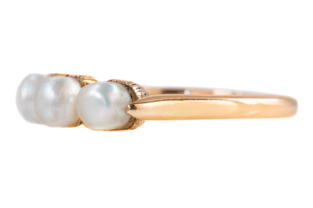 Antique 15ct Gold Natural Pearl Stacking Ring