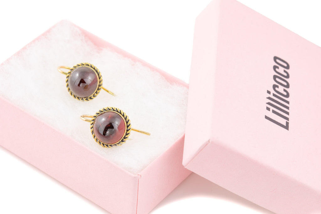 Antique 15ct Gold Garnet Cabochon Earrings, (9.56ct)