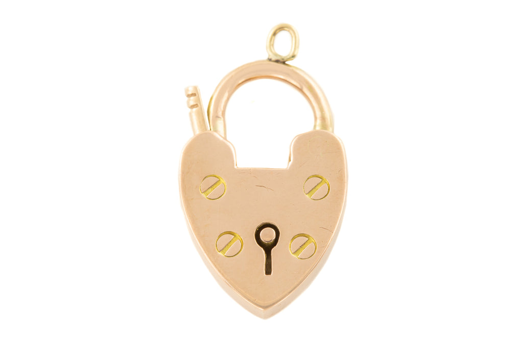 Edwardian Rose Gold Heart Padlock Pendant, c.1900