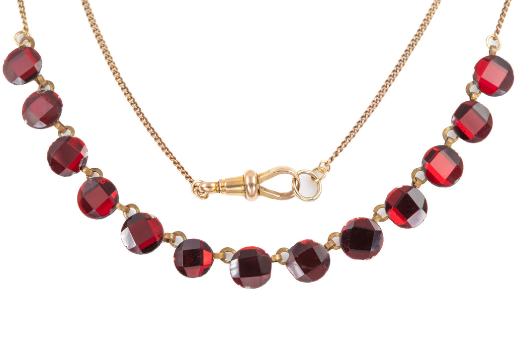 "Antique Red Vauxhall Glass Gold Necklace, with Antique Gold 17"" Chain"