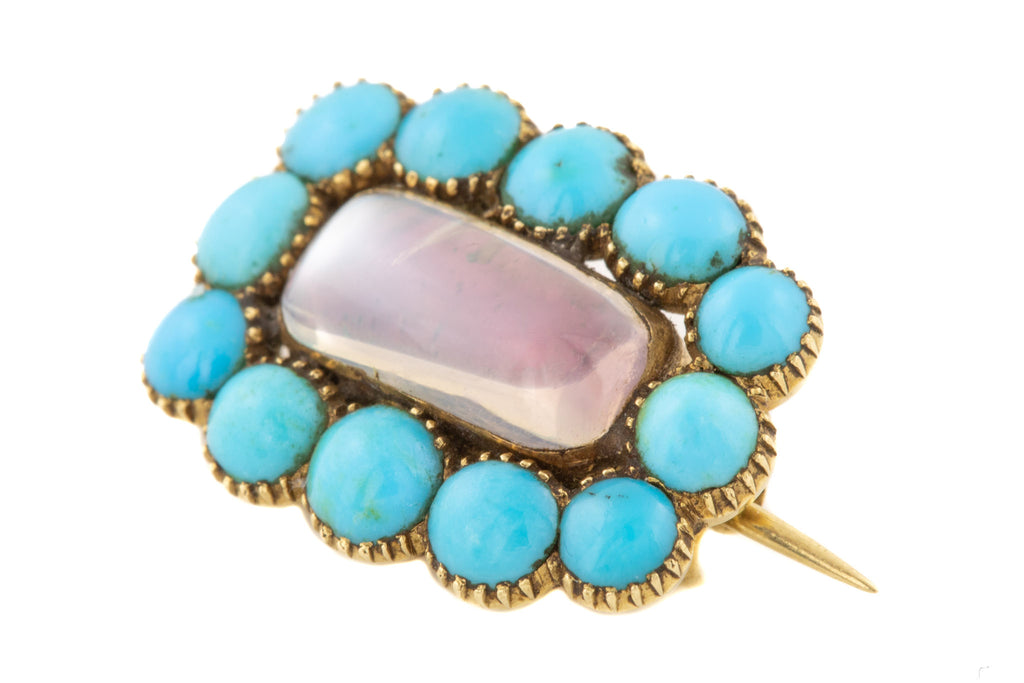 Antique 15ct Gold Turquoise Moonstone Mourning Brooch