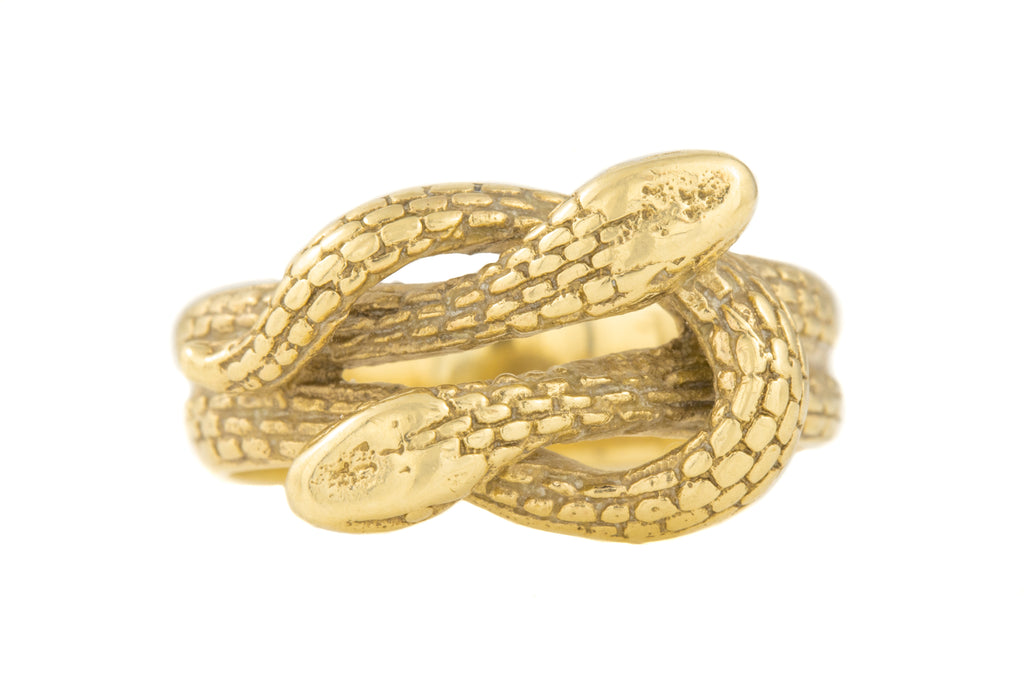 Chunky Vintage Gold Double Snake Ring