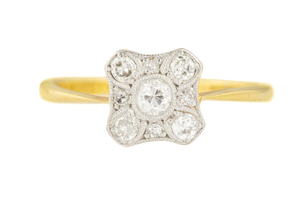 Art Deco 18ct Gold Platinum Diamond Cluster Ring (0.2ct)