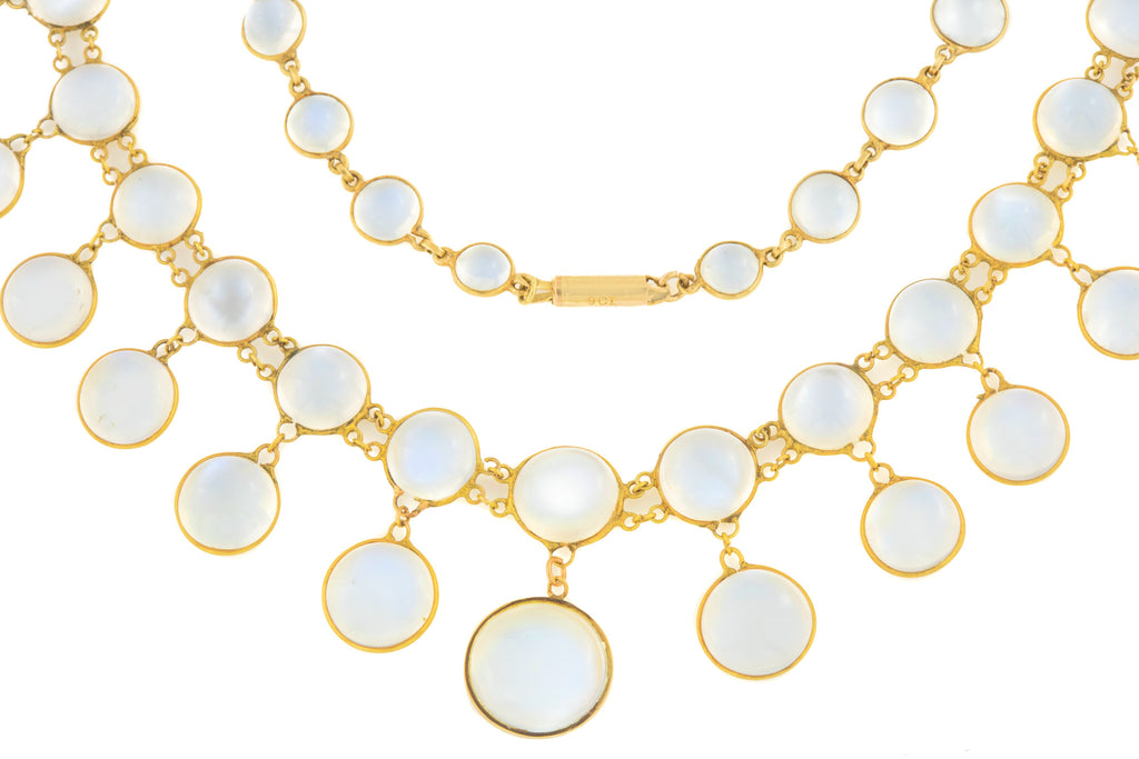 "Antique 15ct Gold Moonstone Festoon Necklace, 16"" (96ct)"