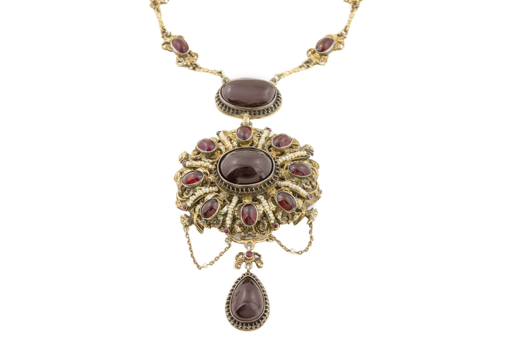 "Spectacular Austro-Hungarian Garnet Pearl Necklace, 23 & 3/4"" (75.80ct)"