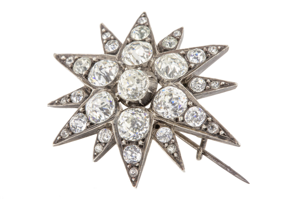Bright Victorian Paste Starburst Brooch