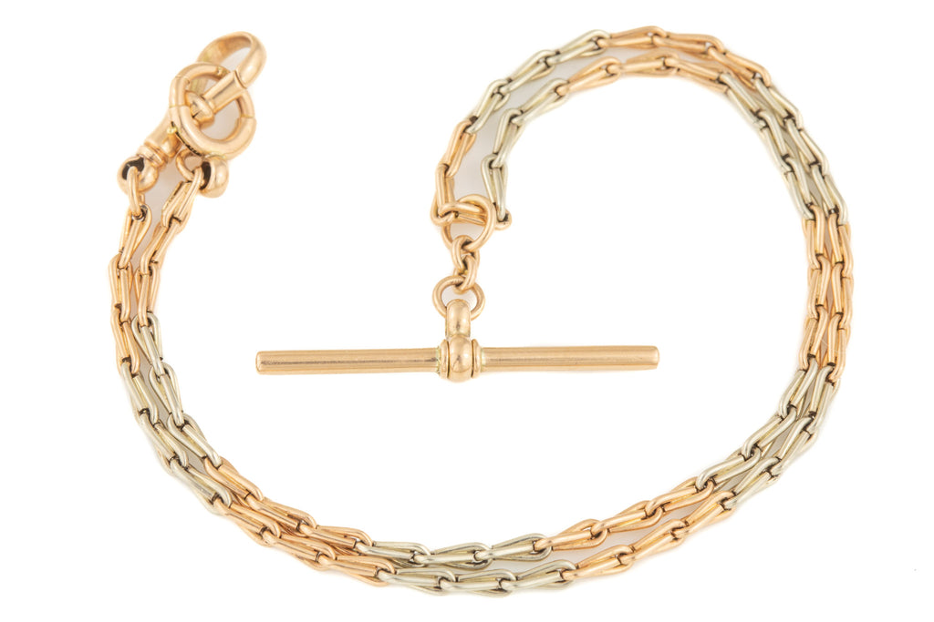 "Art Deco Two-Tone Gold T-Bar Necklace, 14"" (10.7g)"