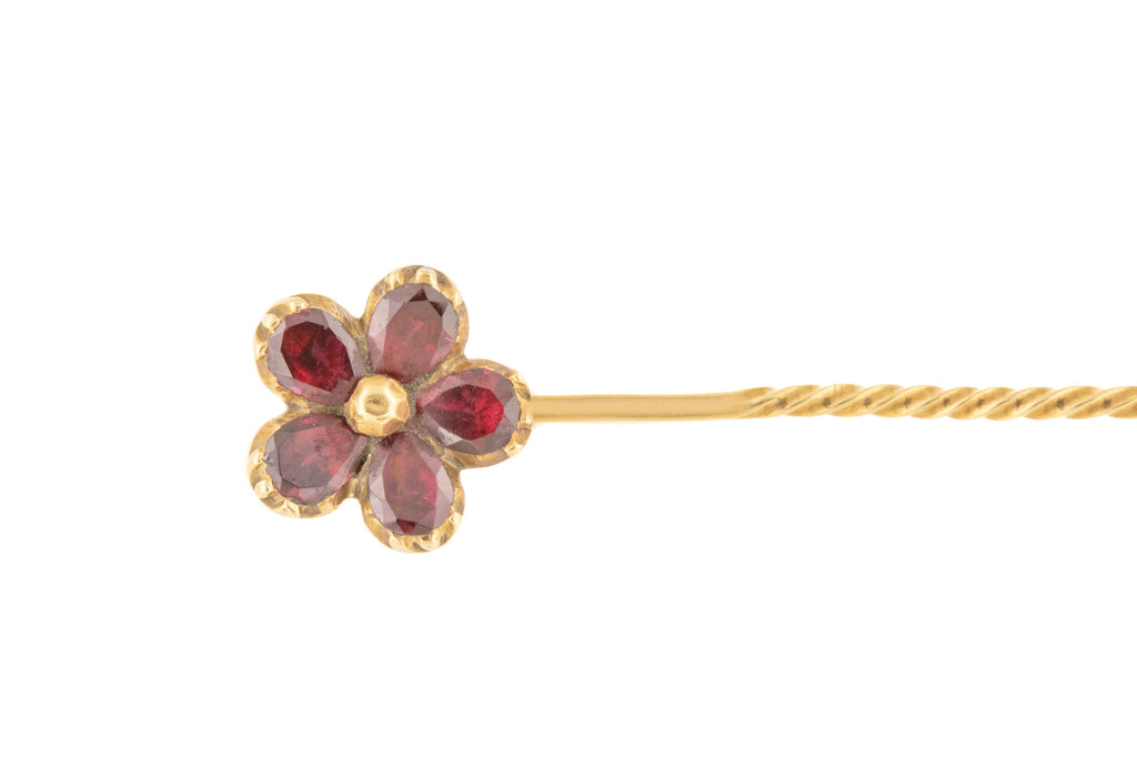 Georgian 10ct Gold Garnet Flower Stick Pin