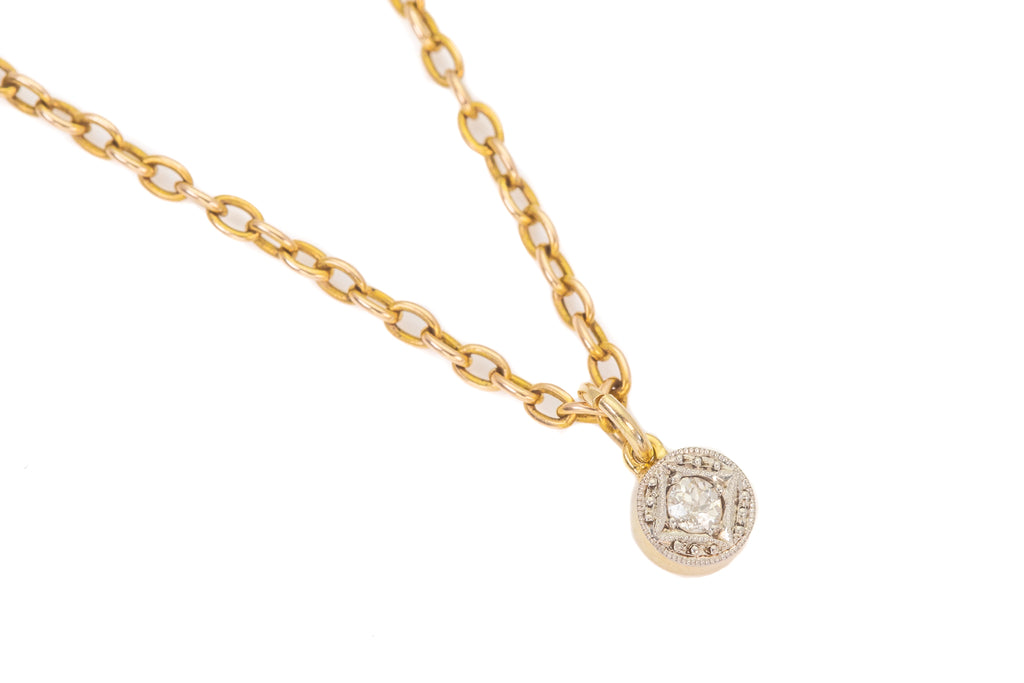 "Art Deco 15ct Gold Platinum Diamond Charm with 16 & 1/2"" Chain, (0.11ct)"