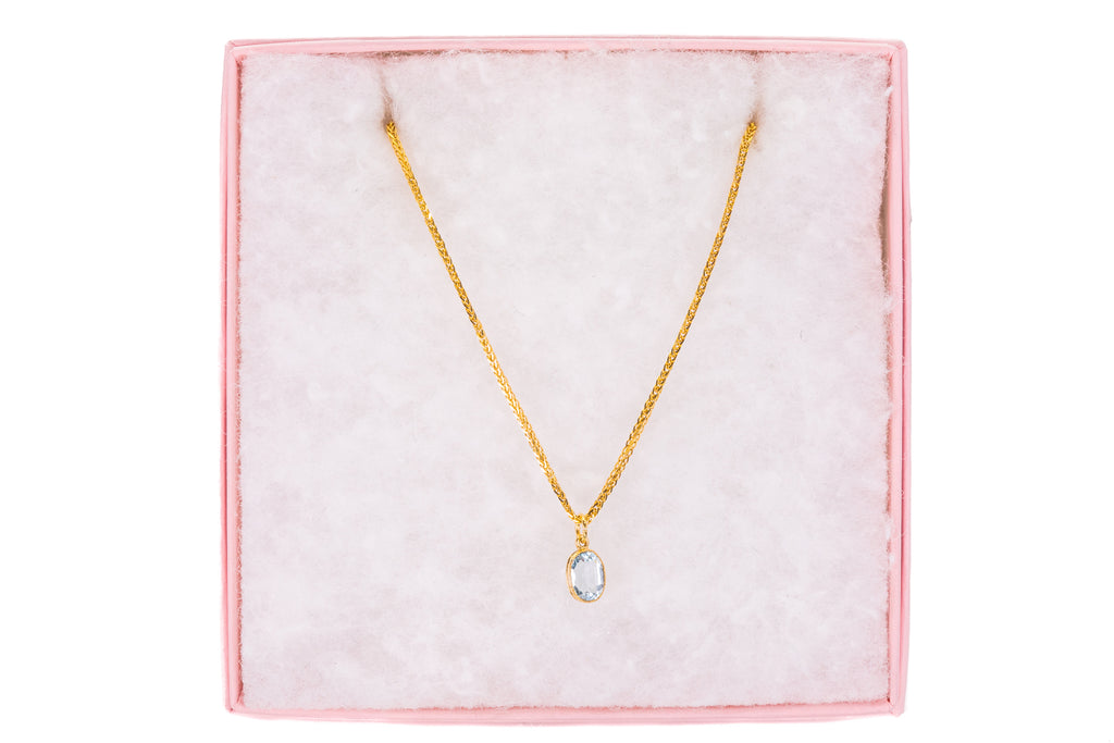 "Antique 18ct Gold Aquamarine Pendant with Foxtail Chain, 20"" (0.80ct)"