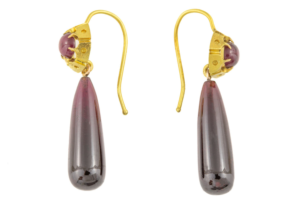 Victorian 18ct Gold Garnet Drop Earrings