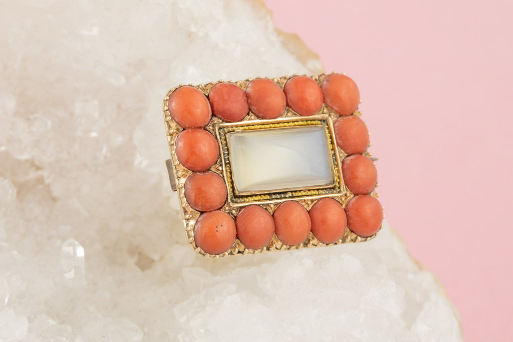 Georgian Coral Moonstone Gold Brooch