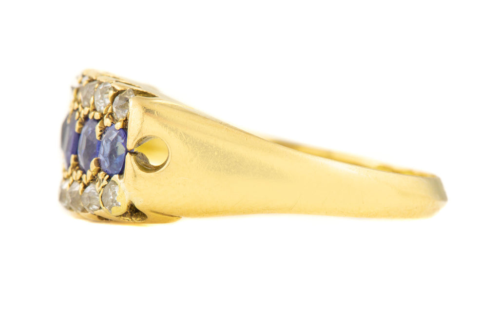 Edwardian 18ct Gold Diamond Sapphire Cluster Ring, c.1903