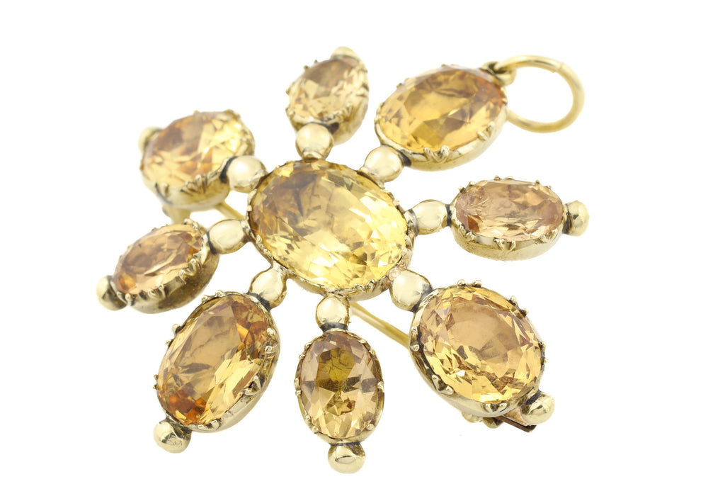 Georgian 15ct Gold Imperial Topaz Brooch Pendant, (19.45ct)