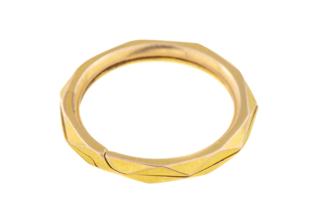Antique Gold Faceted Split Ring, 14.8mm