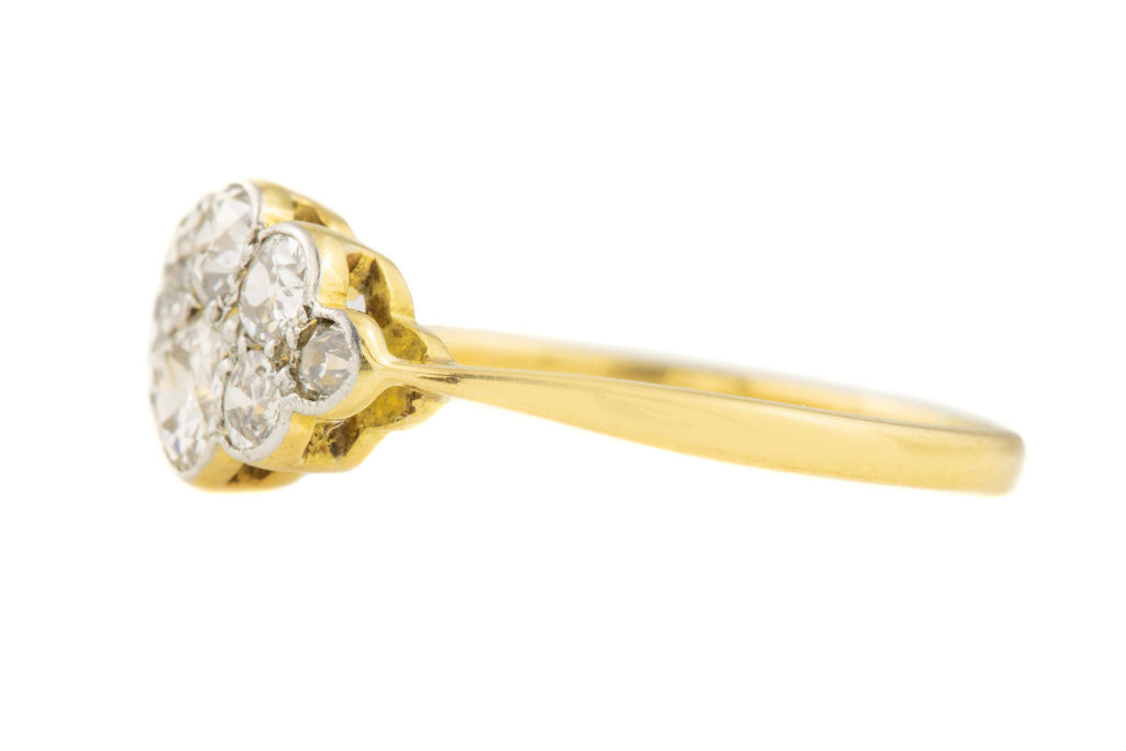 Antique 18ct Gold Diamond Cluster Ring, (0.52ct)