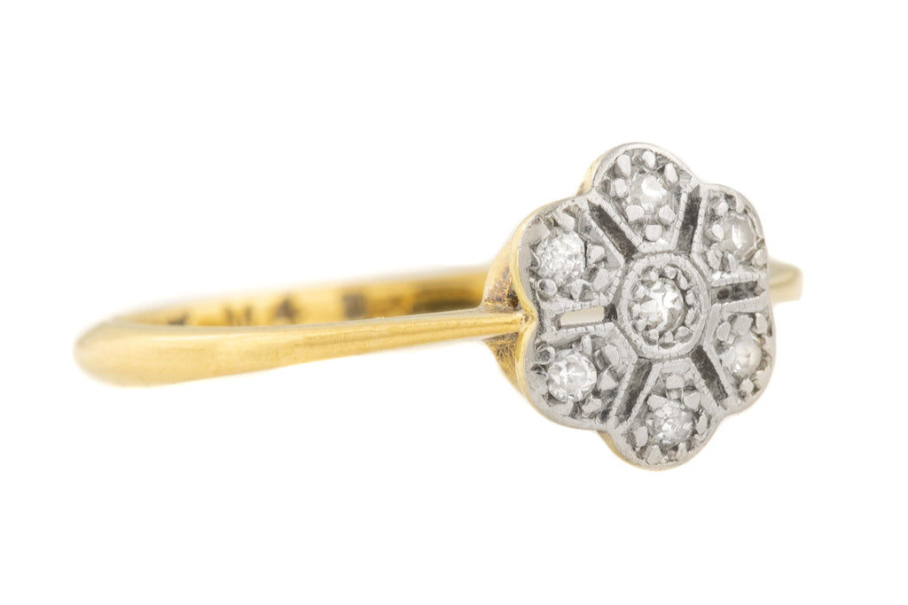 "Art Deco ""Flower"" Diamond Cluster 18ct Gold Platinum Ring"