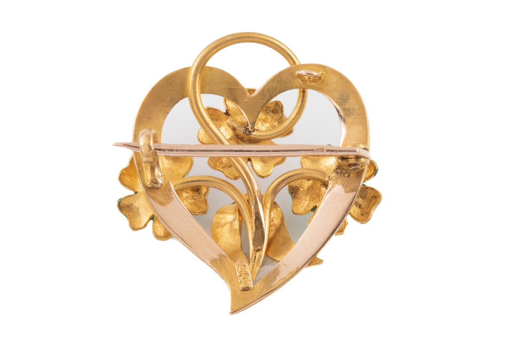 Art Nouveau 15ct Gold Heart Brooch
