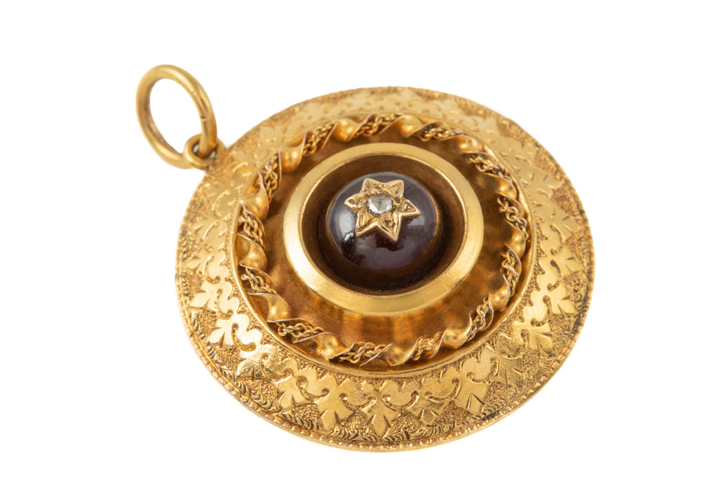 Etruscan Revival 15ct Gold Garnet Diamond Pendant (2.20ct)